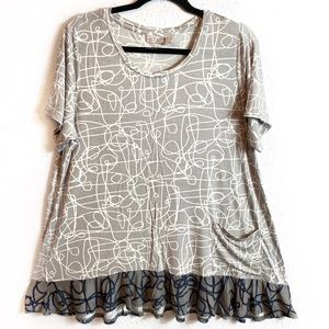 LOGO 1X gray printed pocket tunic contrasting hem